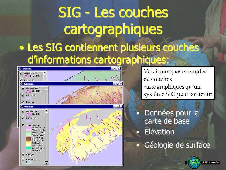 Données pour la carte de baseDonnées pour la carte de base SIG - Les couches cartographiques Les SIG contiennent plusieurs couches dinformations cartographiques:Les SIG contiennent plusieurs couches dinformations cartographiques: ÉlévationÉlévation Géologie de surfaceGéologie de surface Voici quelques exemples de couches cartographiques quun système SIG peut contenir:
