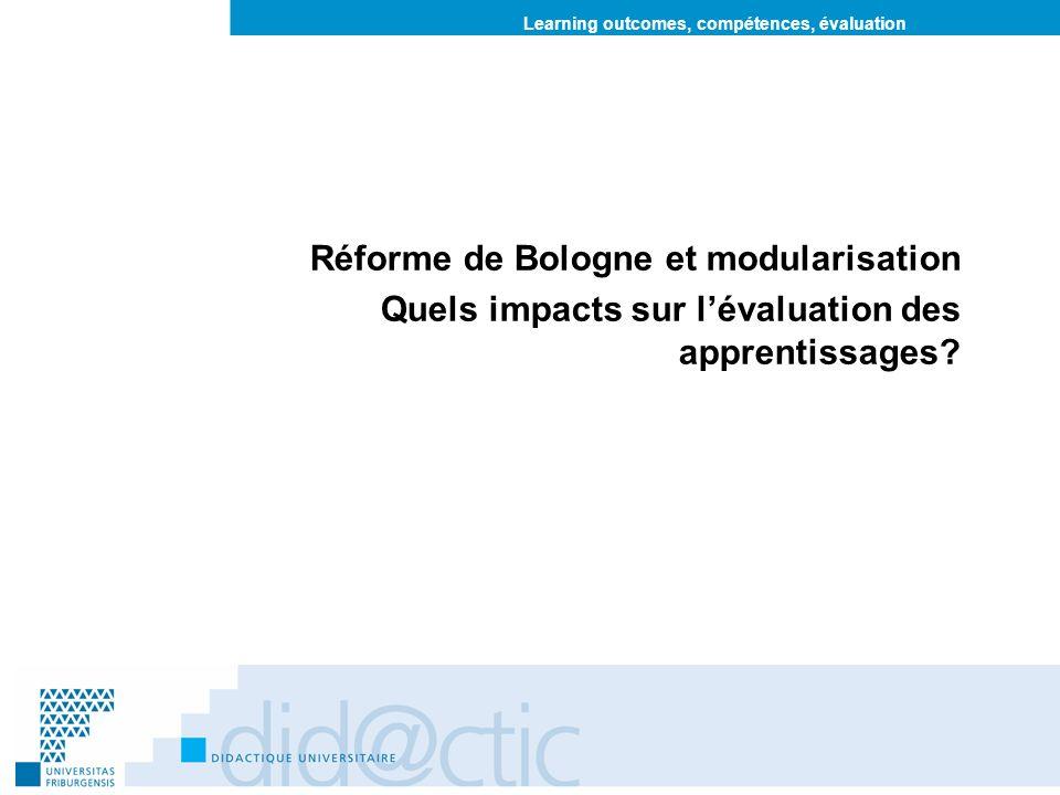 Learning outcomes, compétences, évaluation Réforme de Bologne et modularisation Quels impacts sur lévaluation des apprentissages?