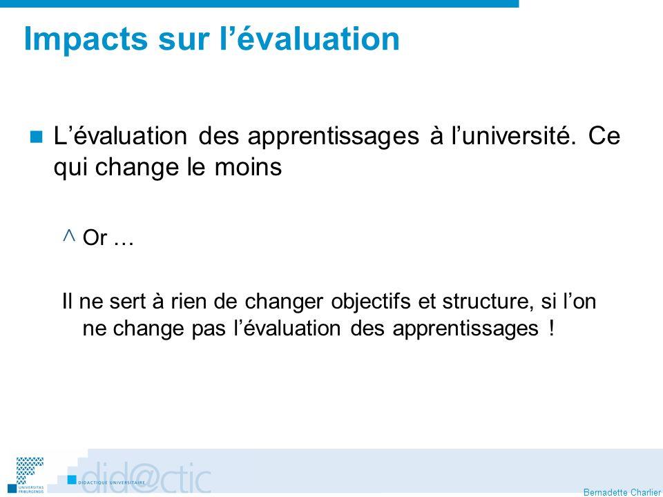 Bernadette Charlier Impacts sur lévaluation Lévaluation des apprentissages à luniversité. Ce qui change le moins ^ Or … Il ne sert à rien de changer o