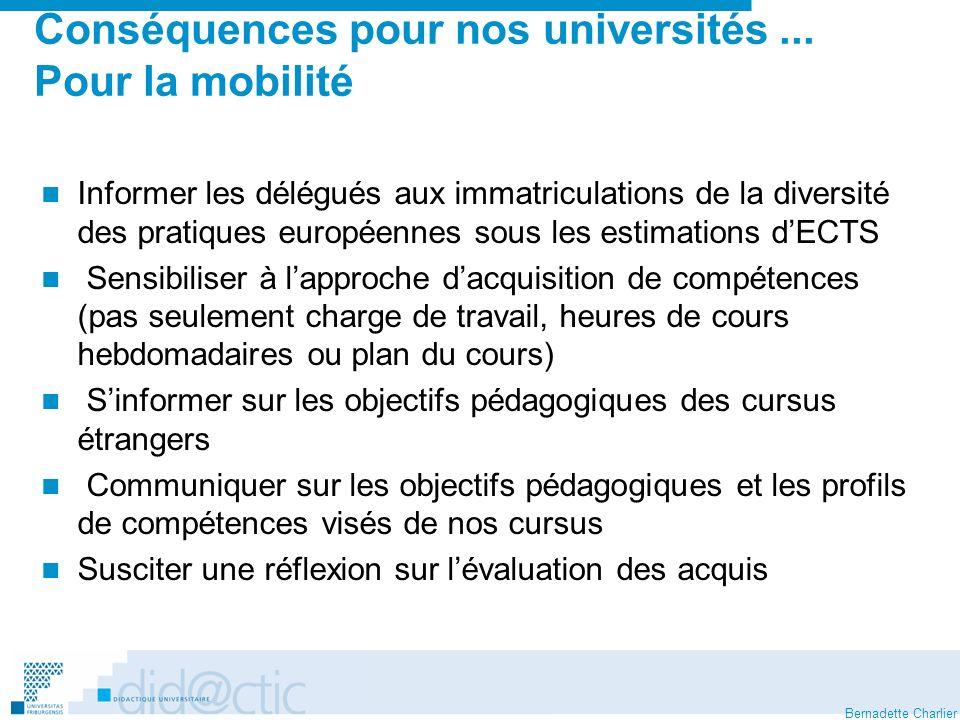 Bernadette Charlier Conséquences pour nos universités... Pour la mobilité Informer les délégués aux immatriculations de la diversité des pratiques eur