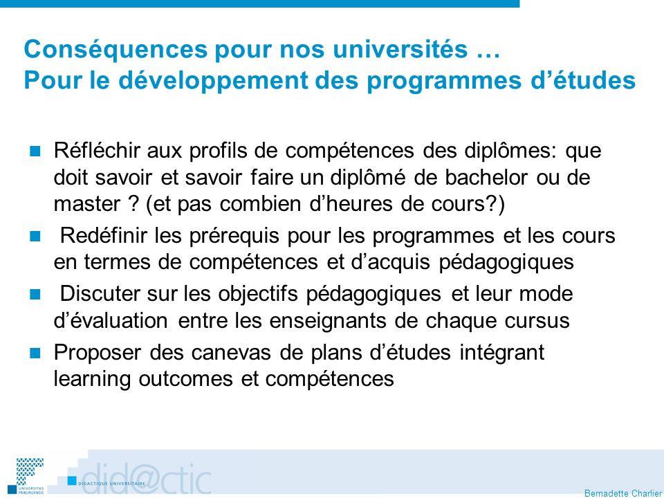 Bernadette Charlier Conséquences pour nos universités … Pour le développement des programmes détudes Réfléchir aux profils de compétences des diplômes