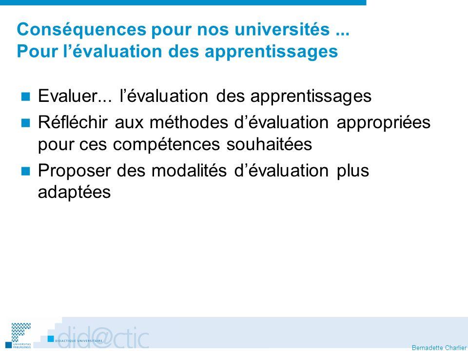 Bernadette Charlier Conséquences pour nos universités... Pour lévaluation des apprentissages Evaluer... lévaluation des apprentissages Réfléchir aux m