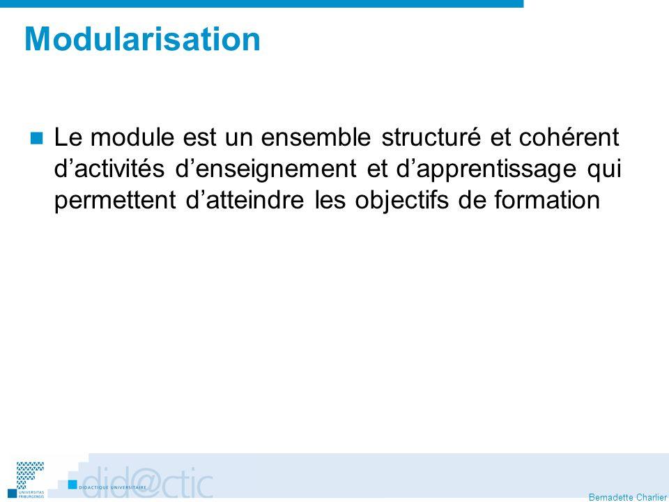 Bernadette Charlier Modularisation Le module est un ensemble structuré et cohérent dactivités denseignement et dapprentissage qui permettent datteindr
