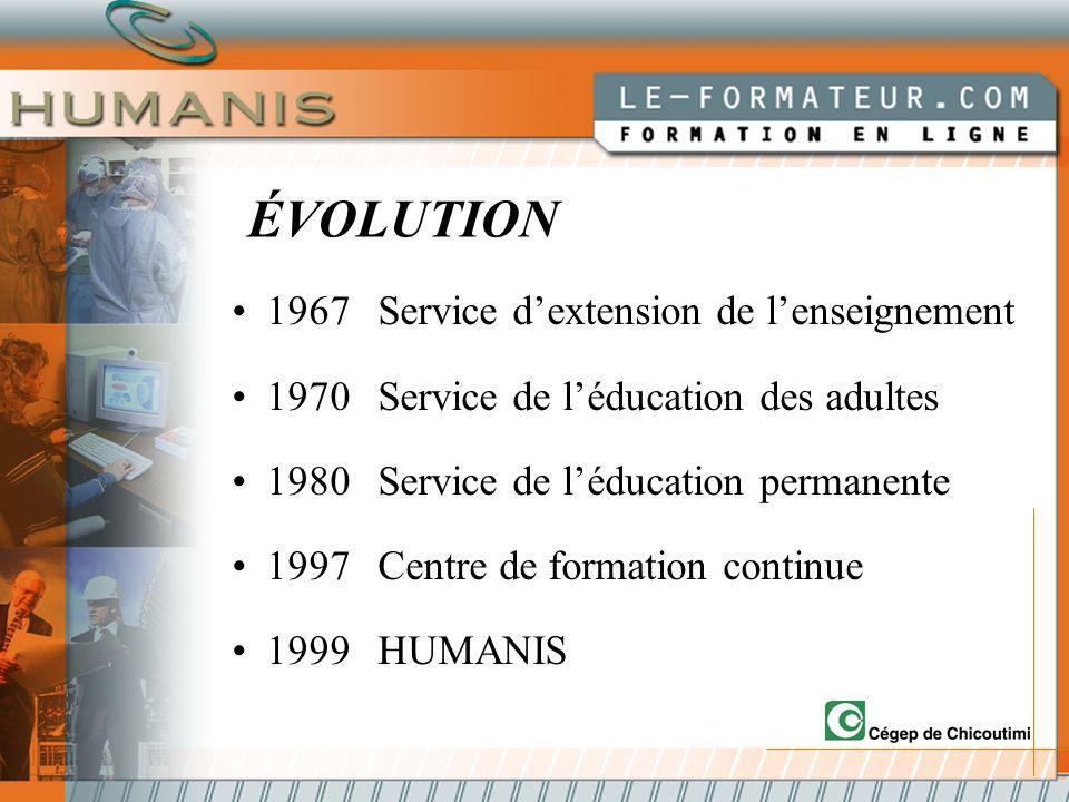 ÉVOLUTION 1967Service dextension de lenseignement 1970Service de léducation des adultes 1980Service de léducation permanente 1997Centre de formation continue 1999HUMANIS
