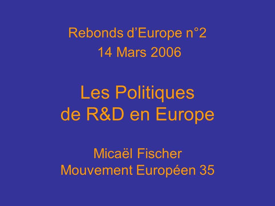 Rebonds dEurope n°2 14 Mars 2006 Les Politiques de R&D en Europe Micaël Fischer Mouvement Européen 35