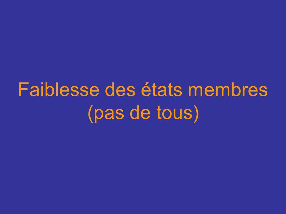 Faiblesse des états membres (pas de tous)
