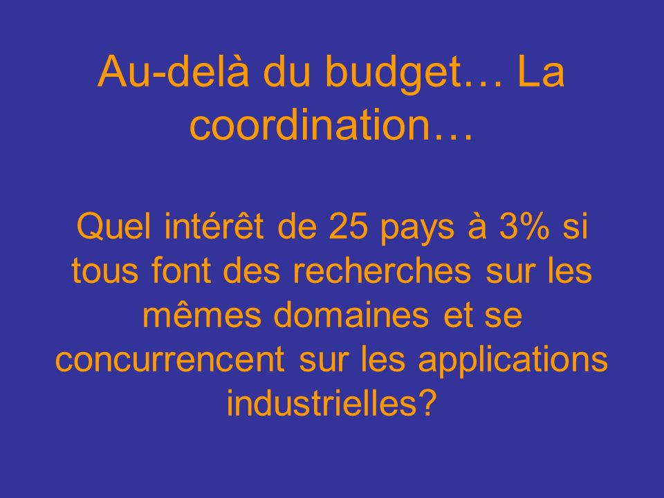 Au-delà du budget… La coordination… Quel intérêt de 25 pays à 3% si tous font des recherches sur les mêmes domaines et se concurrencent sur les applications industrielles