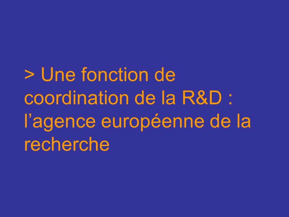 > Une fonction de coordination de la R&D : lagence européenne de la recherche