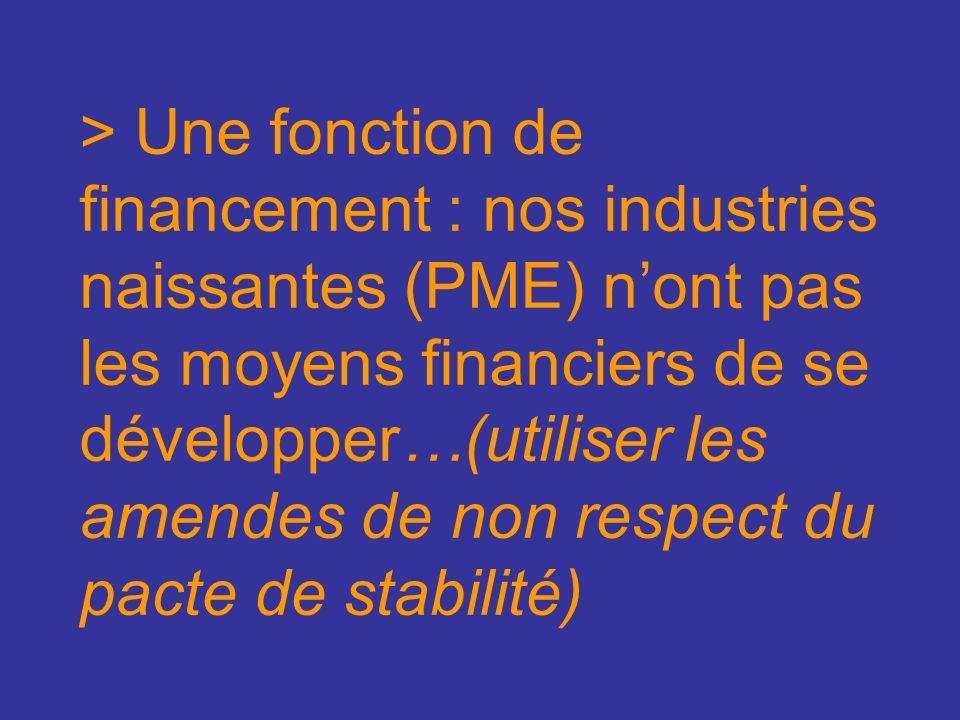 > Une fonction de financement : nos industries naissantes (PME) nont pas les moyens financiers de se développer…(utiliser les amendes de non respect du pacte de stabilité)