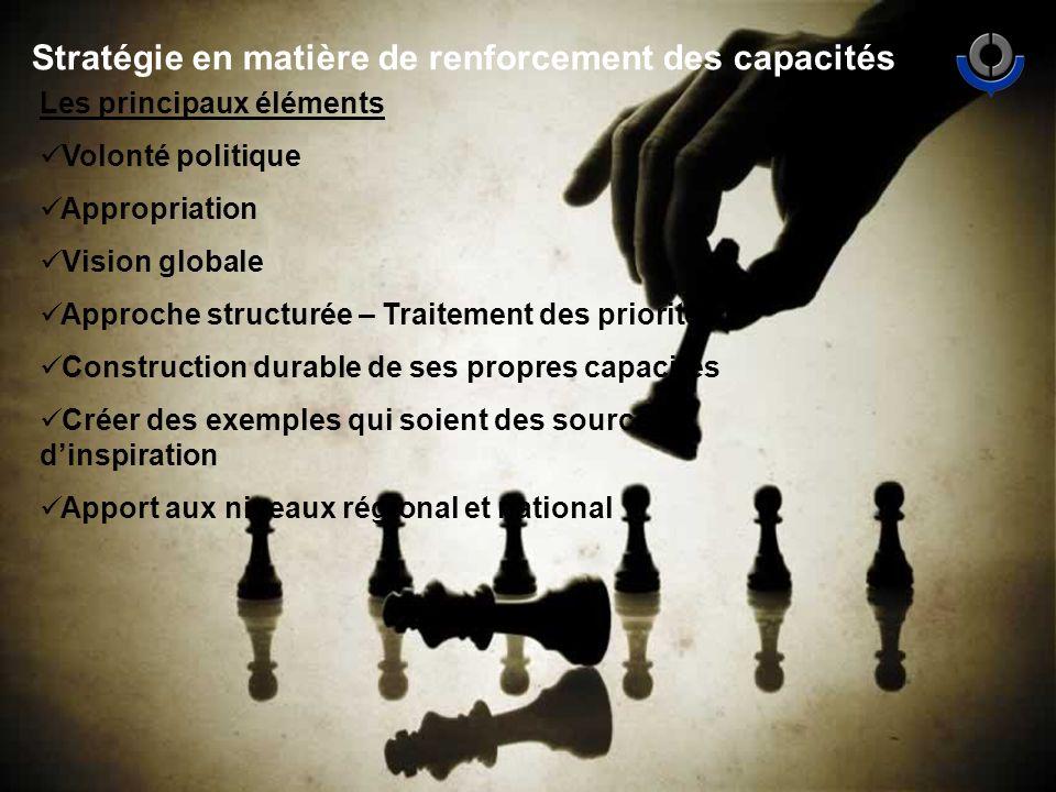 Stratégie en matière de renforcement des capacités Les principaux éléments Volonté politique Appropriation Vision globale Approche structurée – Traitement des priorités Construction durable de ses propres capacités Créer des exemples qui soient des sources dinspiration Apport aux niveaux régional et national