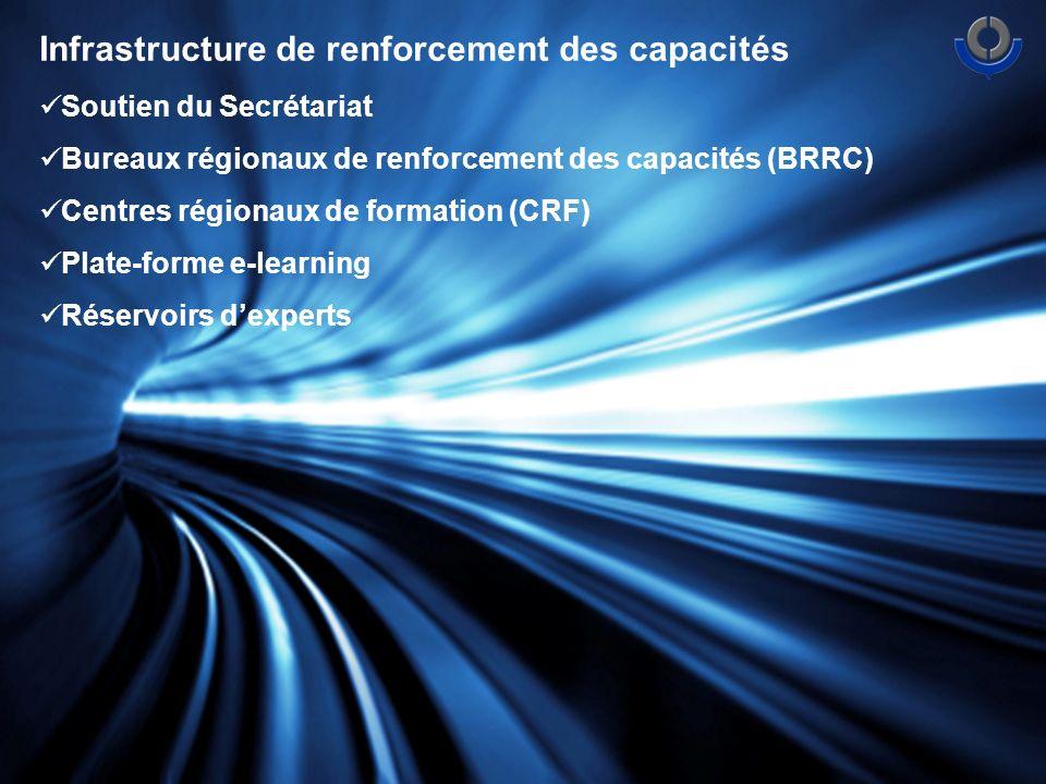 Infrastructure de renforcement des capacités Soutien du Secrétariat Bureaux régionaux de renforcement des capacités (BRRC) Centres régionaux de formation (CRF) Plate-forme e-learning Réservoirs dexperts