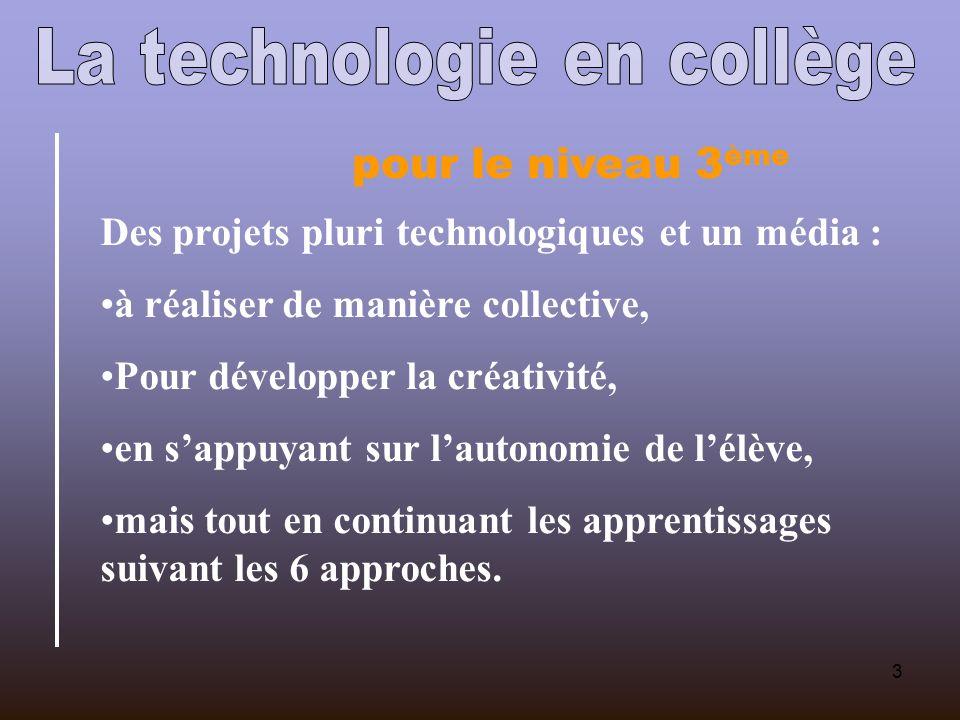 3 pour le niveau 3 ème Des projets pluri technologiques et un média : à réaliser de manière collective, Pour développer la créativité, en sappuyant sur lautonomie de lélève, mais tout en continuant les apprentissages suivant les 6 approches.