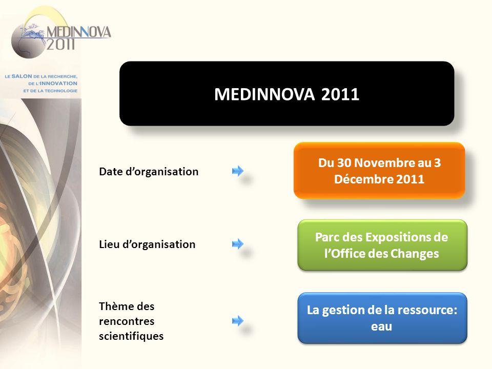 Du 30 Novembre au 3 Décembre 2011 Date dorganisation Lieu dorganisation Parc des Expositions de lOffice des Changes La gestion de la ressource: eau Th