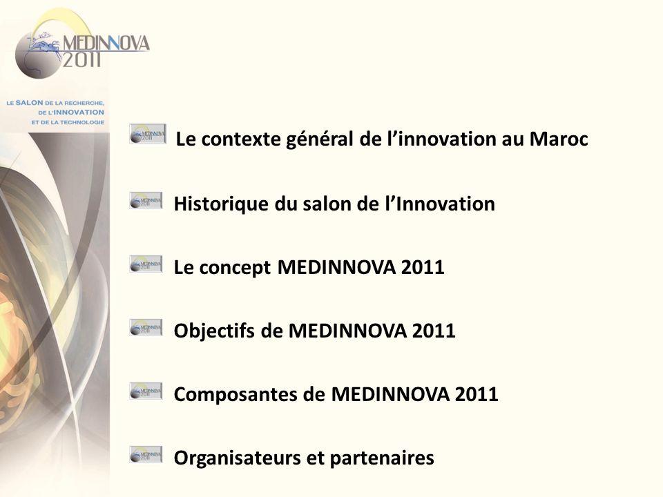 Le contexte général de linnovation au Maroc Historique du salon de lInnovation Le concept MEDINNOVA 2011 Objectifs de MEDINNOVA 2011 Composantes de ME