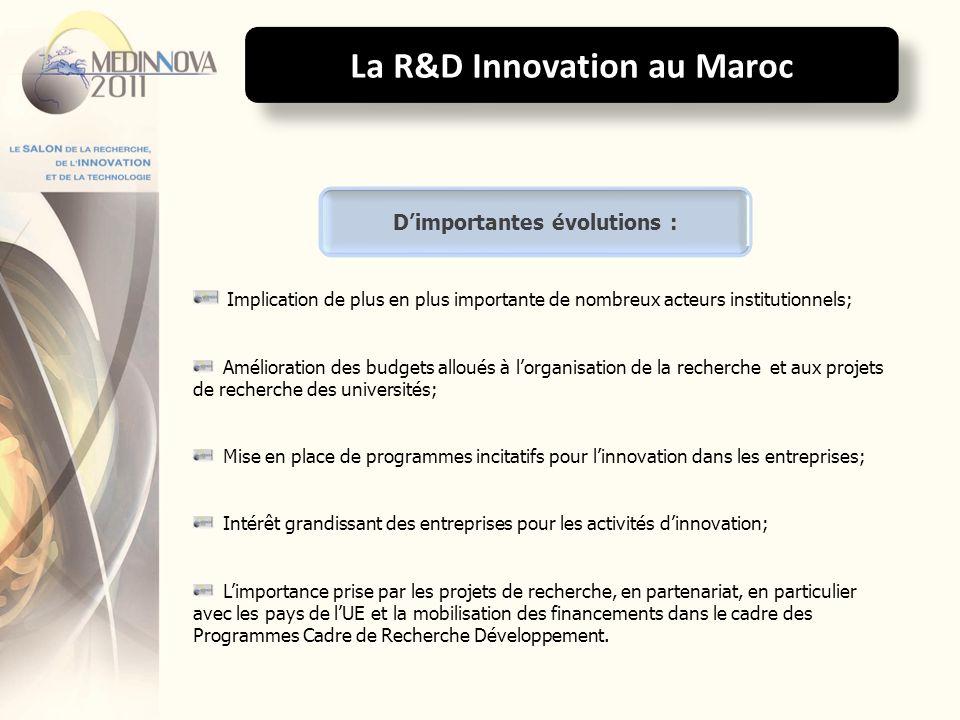 La R&D Innovation au Maroc Le développement des réseaux de coopération et de partenariat, liant les différents acteurs de la Recherche Développement et de la Technologie au Maroc et dans les pays du pourtour de la Méditerranée; Le renforcement de la capacité dinnovation et lamélioration de la compétitivité de lentreprise marocaine ; Défis importants à relever