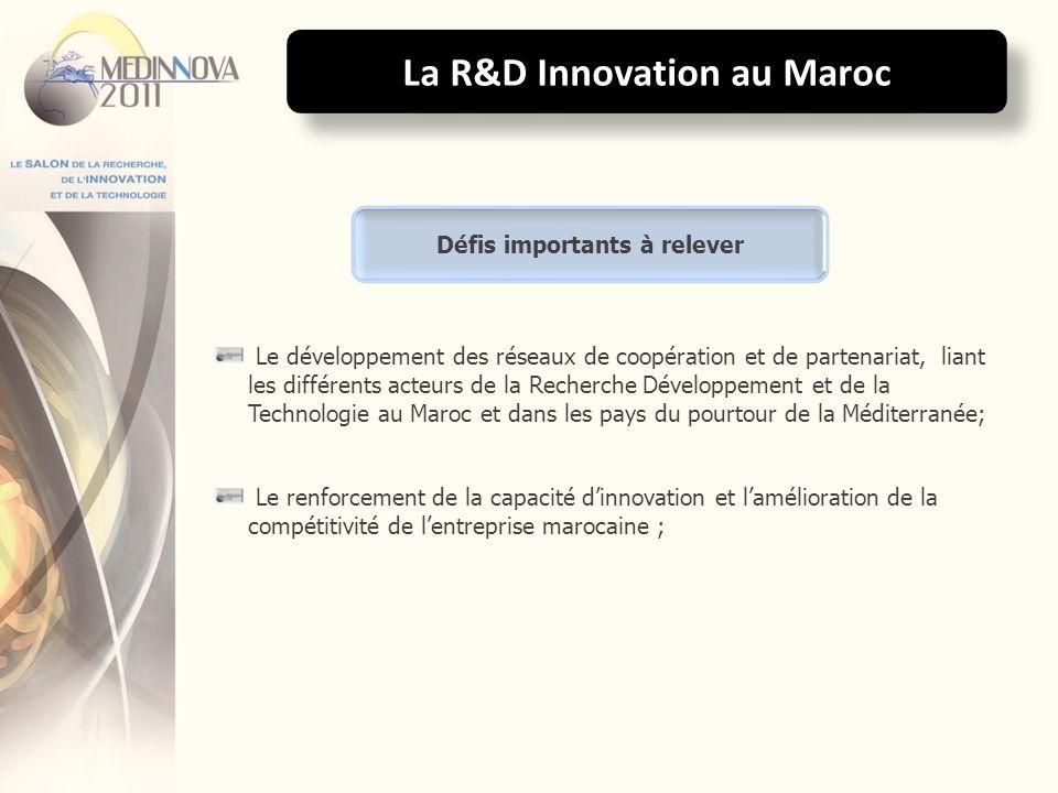 La R&D Innovation au Maroc Le développement des réseaux de coopération et de partenariat, liant les différents acteurs de la Recherche Développement e