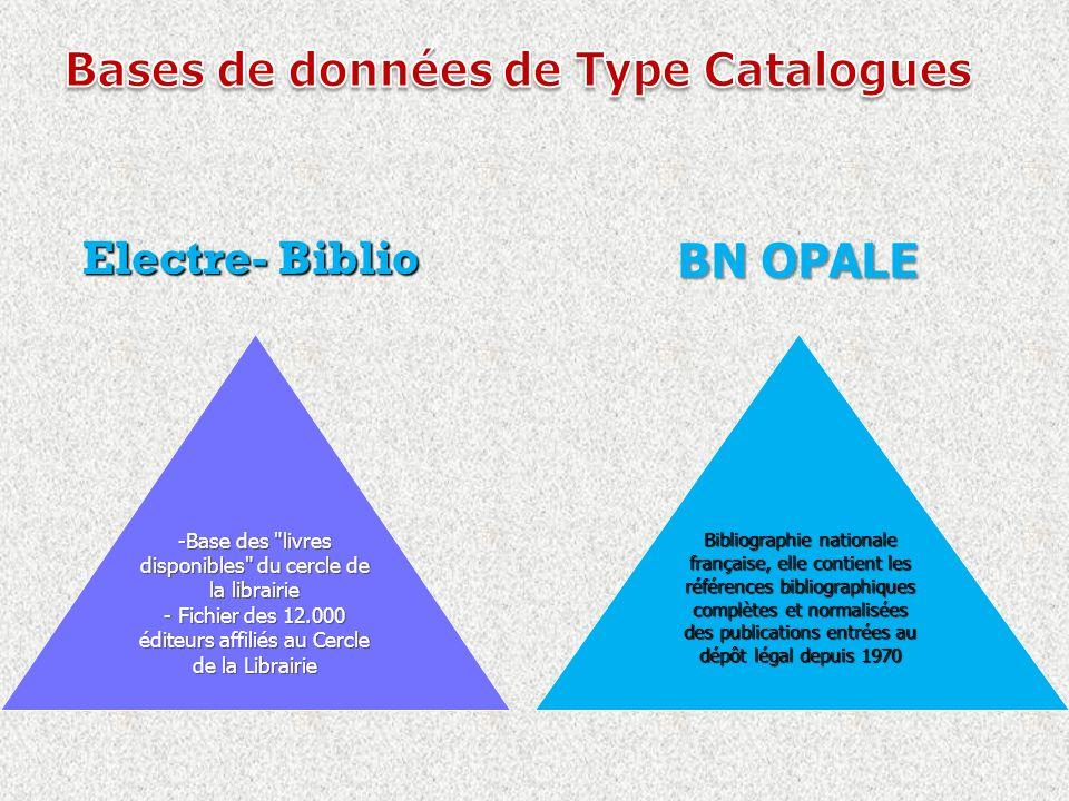 Electre- Biblio Electre- Biblio -Base des livres disponibles du cercle de la librairie - Fichier des 12.000 éditeurs affiliés au Cercle de la Librairie Bibliographie nationale française, elle contient les références bibliographiques complètes et normalisées des publications entrées au dépôt légal depuis 1970 BN OPALE