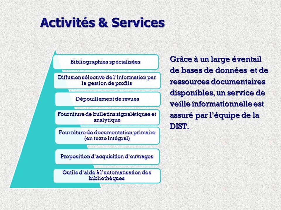 Grâce à un large éventail de bases de données et de ressources documentaires disponibles, un service de veille informationnelle est assuré par léquipe de la DIST.