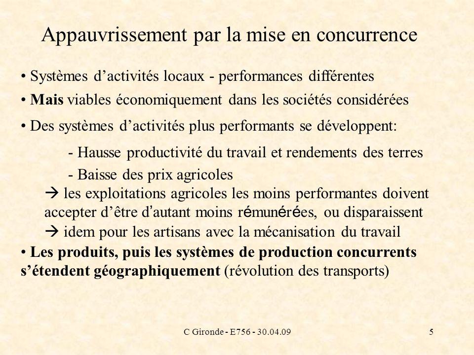 C Gironde - E756 - 30.04.095 Appauvrissement par la mise en concurrence Systèmes dactivités locaux - performances différentes Mais viables économiquem