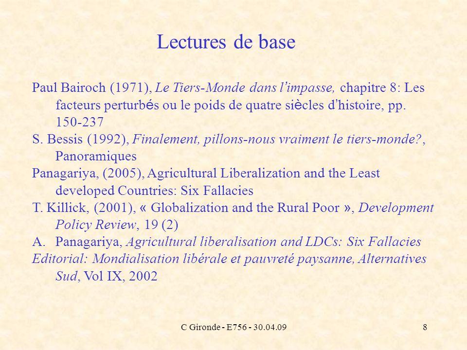 C Gironde - E756 - 30.04.098 Paul Bairoch (1971), Le Tiers-Monde dans l impasse, chapitre 8: Les facteurs perturb é s ou le poids de quatre si è cles
