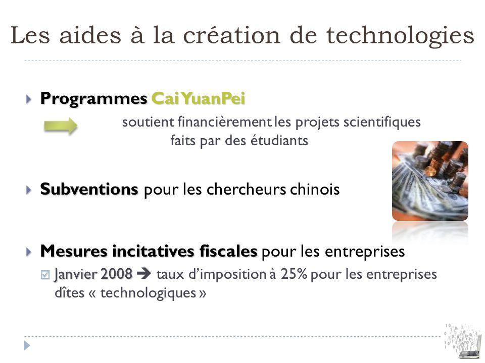 Les aides à la création de technologies Programmes Cai YuanPei Programmes Cai YuanPei soutient financièrement les projets scientifiques faits par des