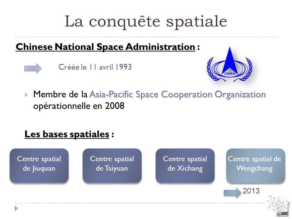 La conquête spatiale Chinese National Space Administration : Créée le 11 avril 1993 Asia-Pacific Space Cooperation Organization Membre de la Asia-Paci