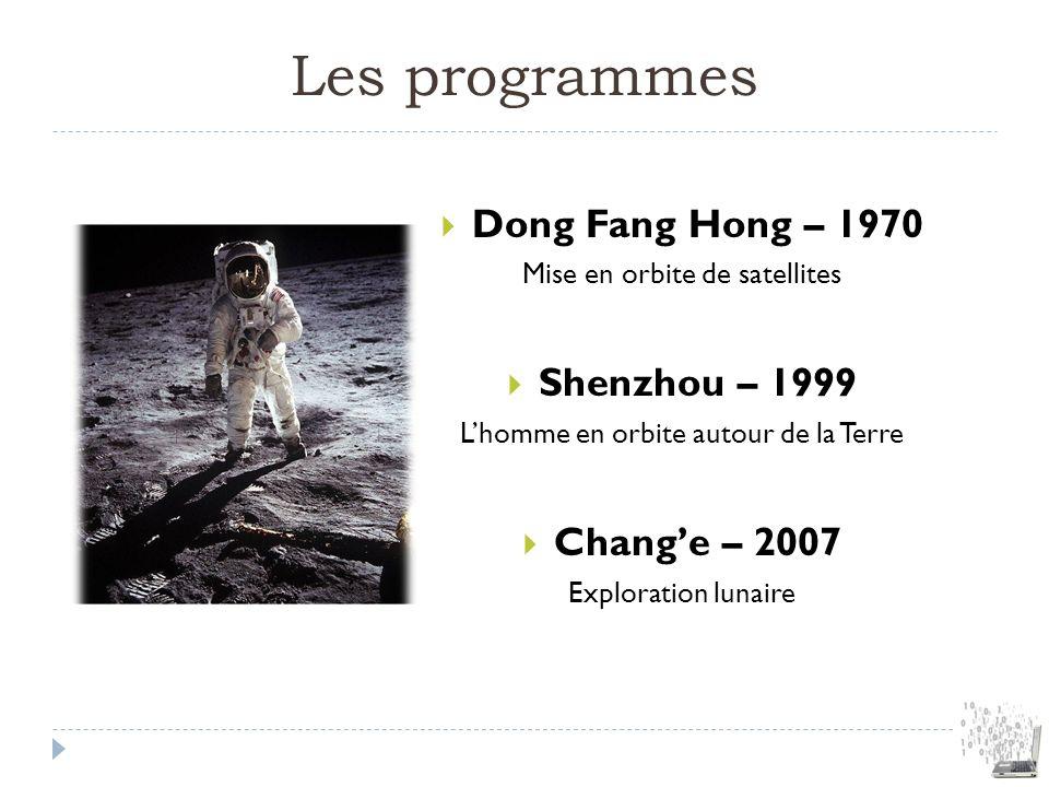 Les programmes Dong Fang Hong – 1970 Mise en orbite de satellites Shenzhou – 1999 Lhomme en orbite autour de la Terre Change – 2007 Exploration lunair