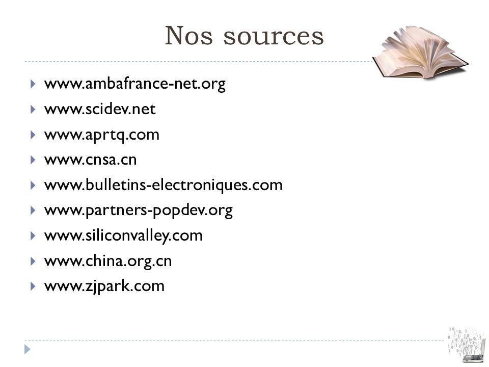 Nos sources www.ambafrance-net.org www.scidev.net www.aprtq.com www.cnsa.cn www.bulletins-electroniques.com www.partners-popdev.org www.siliconvalley.