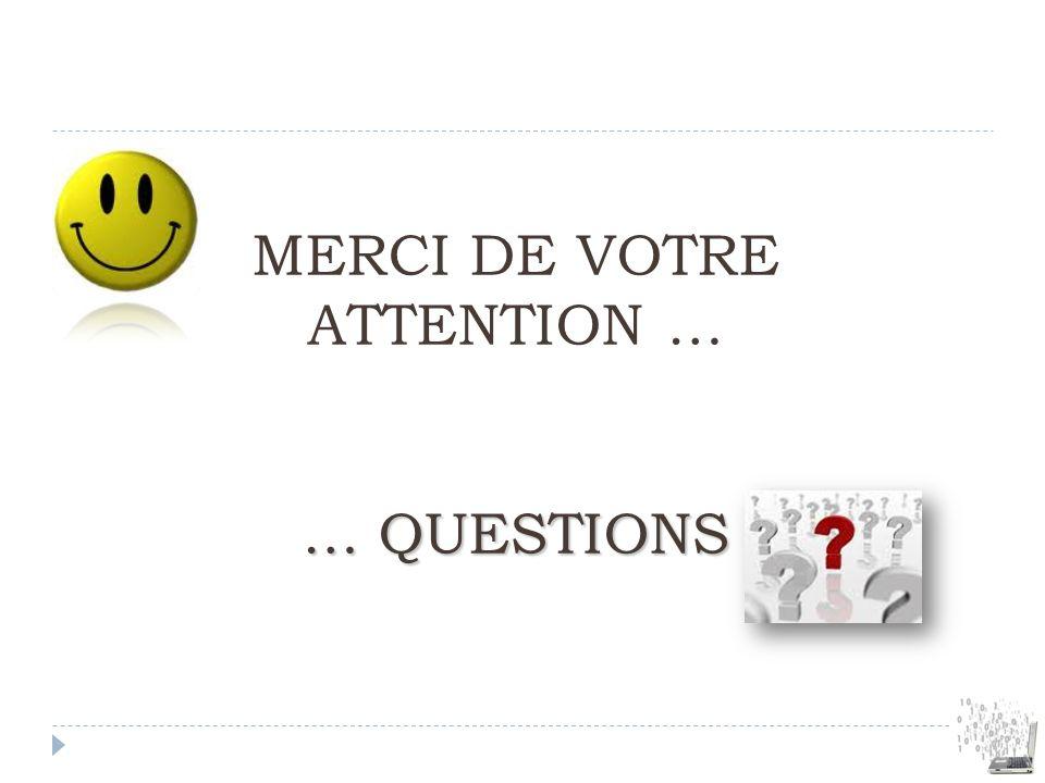 … QUESTIONS MERCI DE VOTRE ATTENTION … … QUESTIONS
