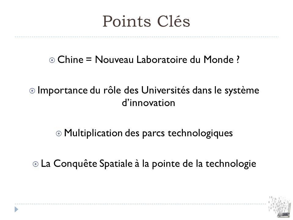 Points Clés Chine = Nouveau Laboratoire du Monde ? Importance du rôle des Universités dans le système dinnovation Multiplication des parcs technologiq