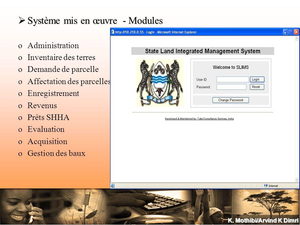 K. Mothibi/Arvind K Dimri Système mis en œuvre - Modules Système mis en œuvre - Modules oAdministration oInventaire des terres oDemande de parcelle oA