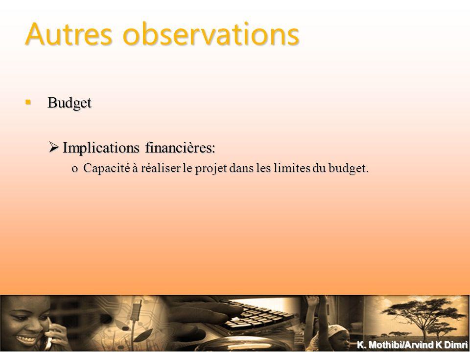 K. Mothibi/Arvind K Dimri Autres observations Budget Budget Implications financières: Implications financières: oCapacité à réaliser le projet dans le