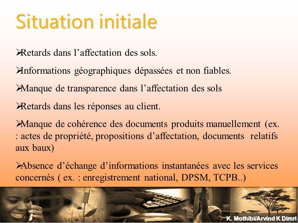 K. Mothibi/Arvind K Dimri Situation initiale Retards dans laffectation des sols.
