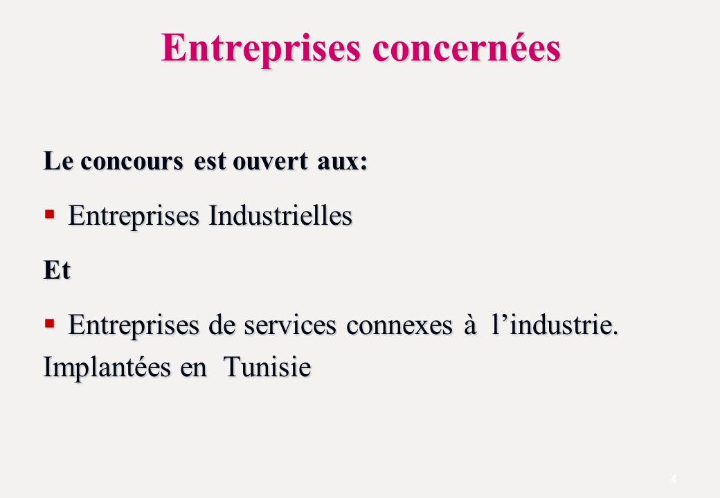 Entreprises concernées Le concours est ouvert aux: Entreprises Industrielles Entreprises IndustriellesEt Entreprises de services connexes à lindustrie.