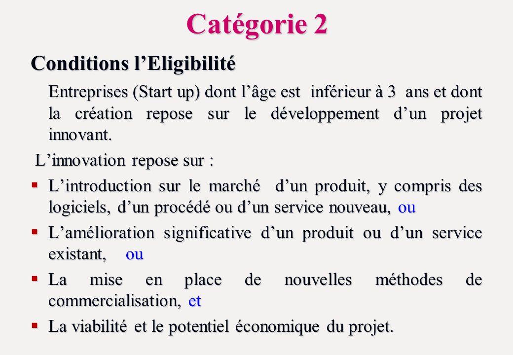 Catégorie 2 Conditions lEligibilité Entreprises (Start up) dont lâge est inférieur à 3 ans et dont la création repose sur le développement dun projet innovant.
