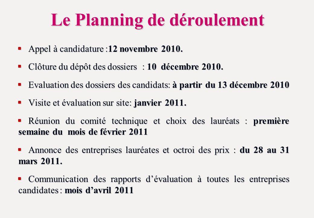 Le Planning de déroulement Appel à candidature :12 novembre 2010.