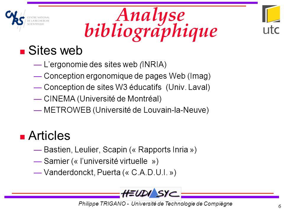 Philippe TRIGANO - Université de Technologie de Compiègne 6 Analyse bibliographique Sites web Lergonomie des sites web (INRIA) Conception ergonomique