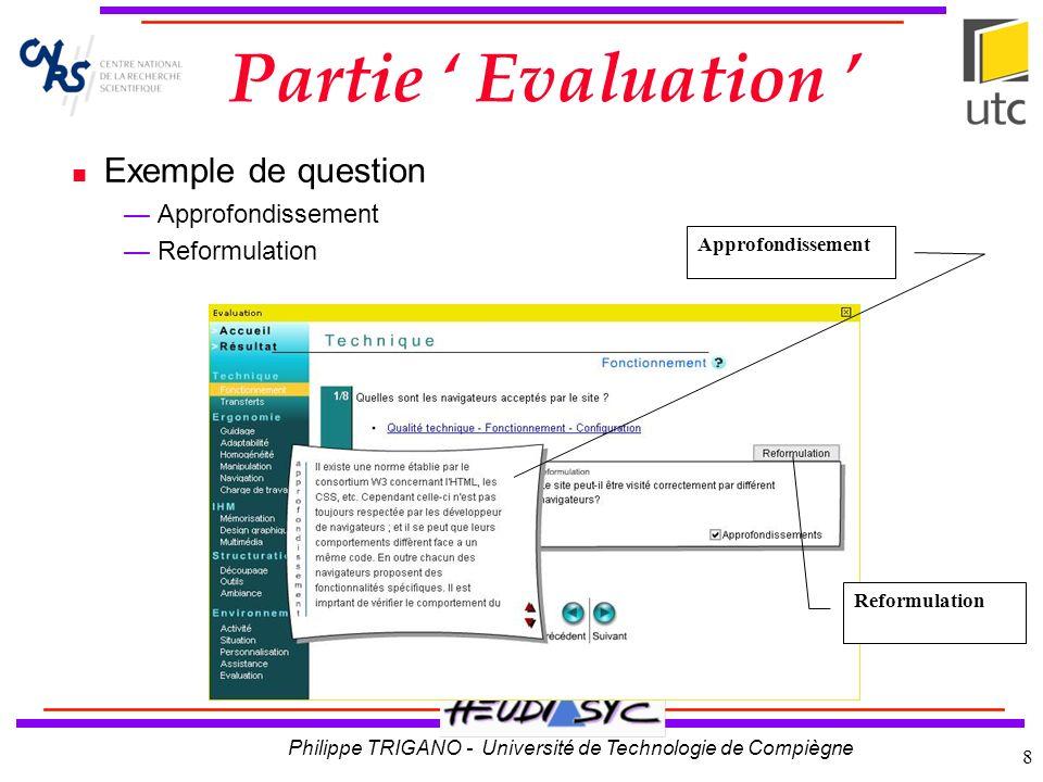 Philippe TRIGANO - Université de Technologie de Compiègne 9 Aide à lÉvaluation lien vers le critère de la partie Cours synthèse dune question du questionnaire le résultat de lévaluation