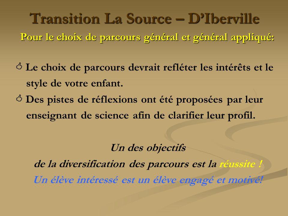 Transition La Source – DIberville Pour le choix de parcours général et général appliqué: Le choix de parcours devrait refléter les intérêts et le styl