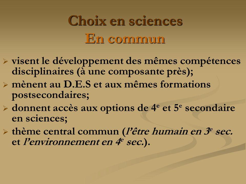 Choix en sciences En commun visent le développement des mêmes compétences disciplinaires (à une composante près); mènent au D.E.S et aux mêmes formati