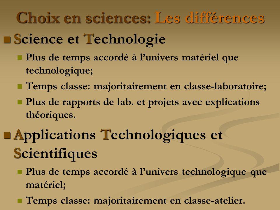 Choix en sciences: Les différences ST Science et Technologie Plus de temps accordé à lunivers matériel que technologique; Temps classe: majoritairement en classe-laboratoire; Plus de rapports de lab.