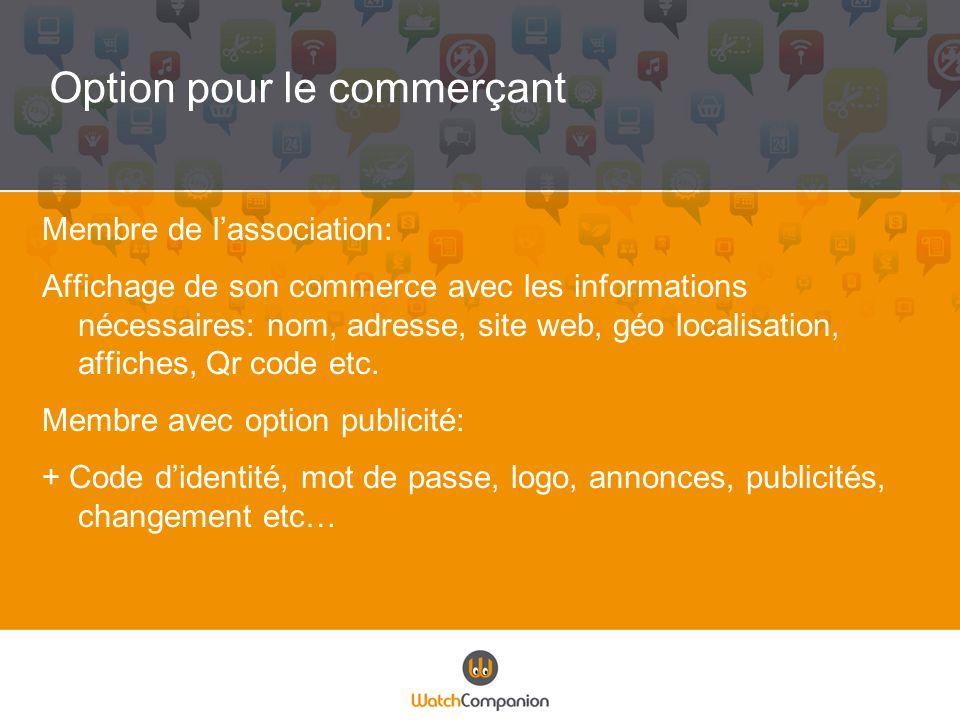 Option pour le commerçant Membre de lassociation: Affichage de son commerce avec les informations nécessaires: nom, adresse, site web, géo localisatio