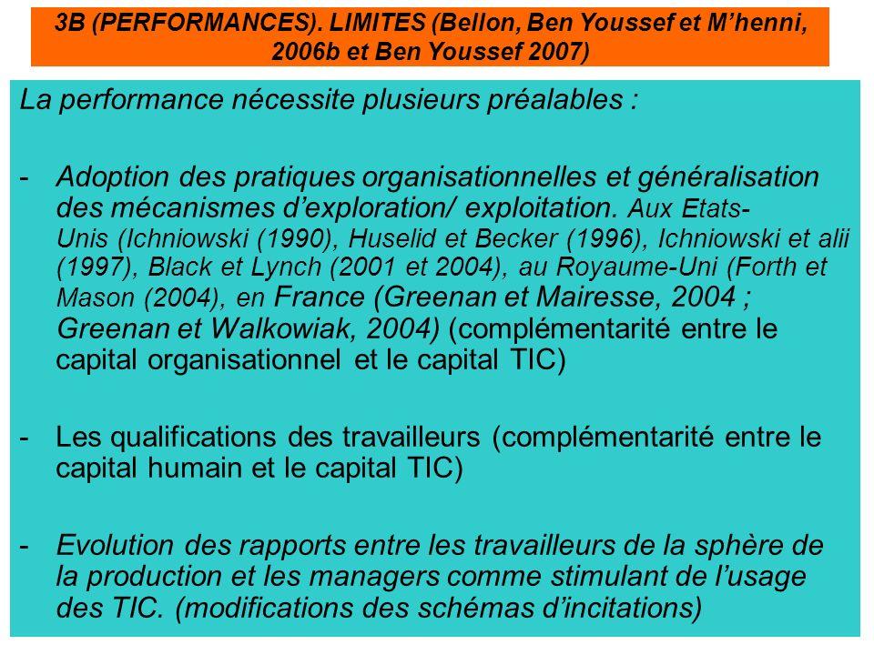 La performance nécessite plusieurs préalables : -Adoption des pratiques organisationnelles et généralisation des mécanismes dexploration/ exploitation.