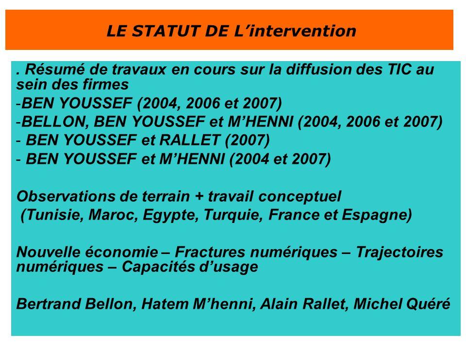 . Résumé de travaux en cours sur la diffusion des TIC au sein des firmes -BEN YOUSSEF (2004, 2006 et 2007) -BELLON, BEN YOUSSEF et MHENNI (2004, 2006 et 2007) - BEN YOUSSEF et RALLET (2007) - BEN YOUSSEF et MHENNI (2004 et 2007) Observations de terrain + travail conceptuel (Tunisie, Maroc, Egypte, Turquie, France et Espagne) Nouvelle économie – Fractures numériques – Trajectoires numériques – Capacités dusage Bertrand Bellon, Hatem Mhenni, Alain Rallet, Michel Quéré LE STATUT DE Lintervention