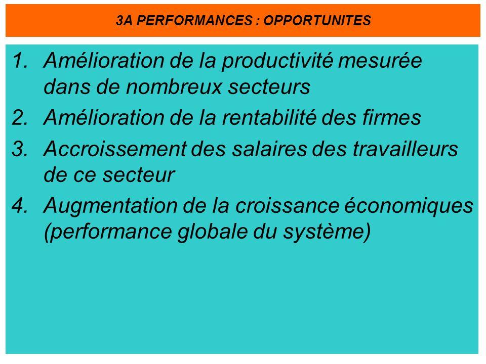 1.Amélioration de la productivité mesurée dans de nombreux secteurs 2.Amélioration de la rentabilité des firmes 3.Accroissement des salaires des travailleurs de ce secteur 4.Augmentation de la croissance économiques (performance globale du système) 3A PERFORMANCES : OPPORTUNITES