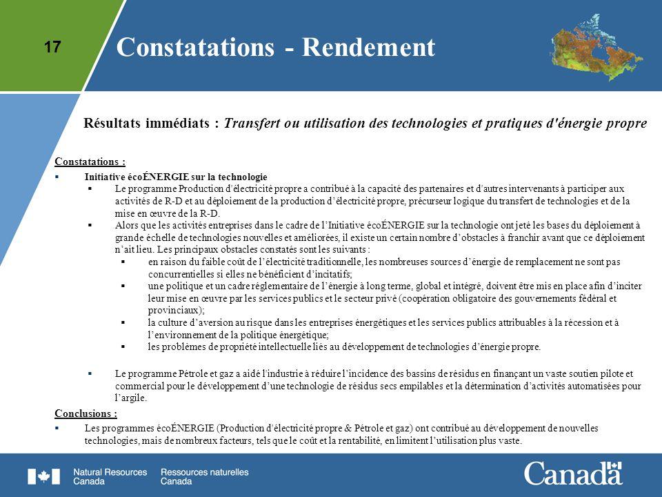 17 Résultats immédiats : Transfert ou utilisation des technologies et pratiques d'énergie propre Constatations : Initiative écoÉNERGIE sur la technolo