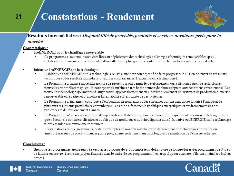 21 Résultats intermédiaires : Disponibilité de procédés, produits et services novateurs prêts pour le marché Constatations : écoÉNERGIE pour le chauff