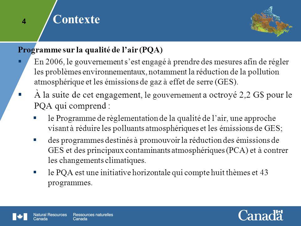 4 Contexte Programme sur la qualité de lair (PQA) En 2006, le gouvernement sest engagé à prendre des mesures afin de régler les problèmes environnemen