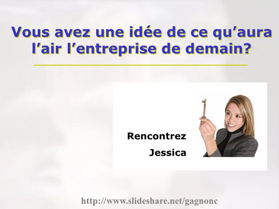 Vous avez une idée de ce quaura lair lentreprise de demain? Rencontrez Jessica http://www.slideshare.net/gagnonc