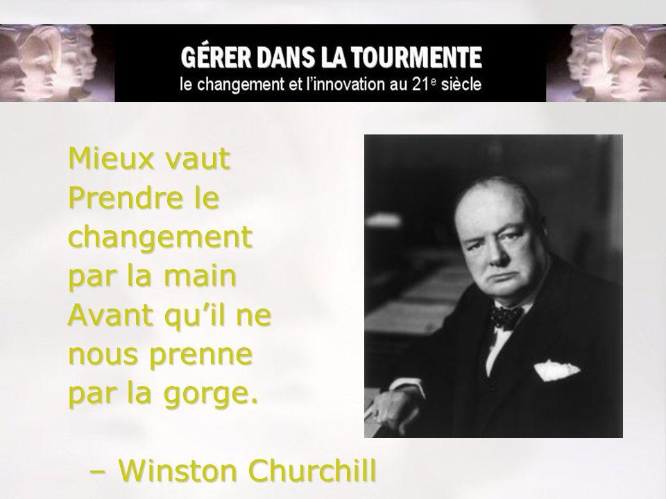 Mieux vaut Prendre le changement par la main Avant quil ne nous prenne par la gorge. – Winston Churchill – Winston Churchill